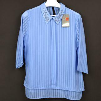 Koszula damska z ozdobnym kołnierzykiem, rozmiar 38